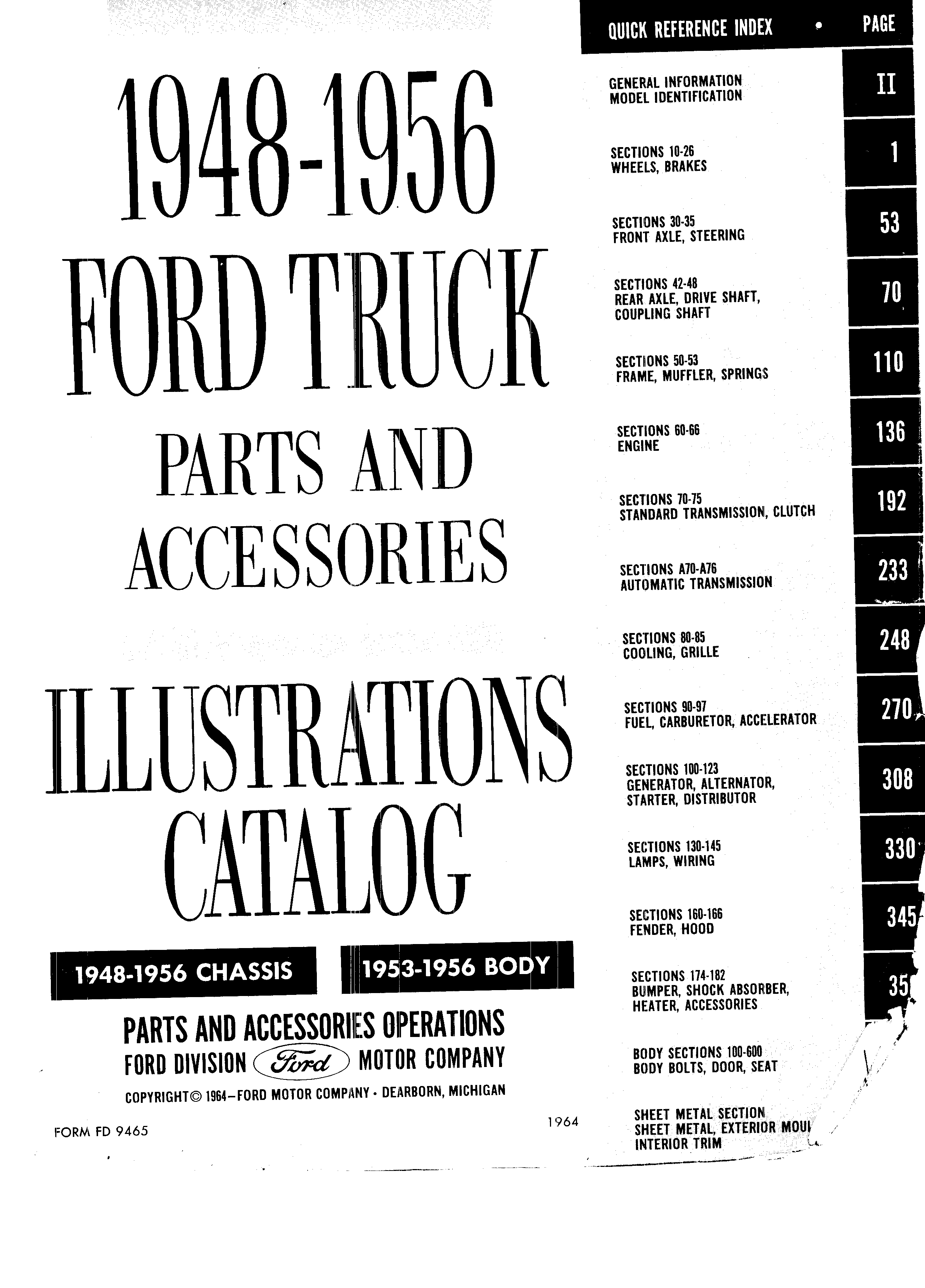Ford Truck Parts and Accessories Illustration Catalog FD 9465 January 1964
